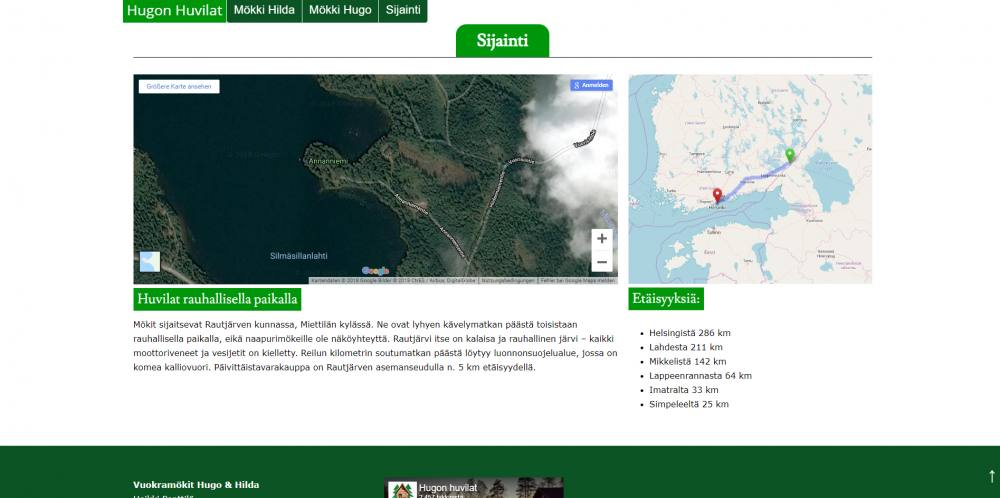Hugon huvilat lakeside cottages website map