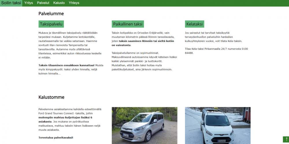 Website for a taxi company in Finland - services